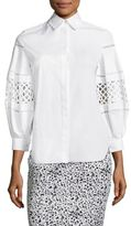Carolina Herrera Basketweave Cotton Button-Front Shirt