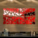 LEERYA 32pcs DIY 3D Acrylic Mirror Decal Mural Wall Sticker Home Decor Removable Gold (Red)