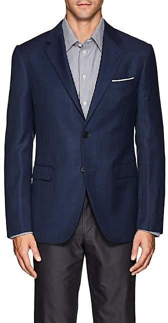 Barneys New York MEN'S SHANG WOOL-SILK TWO-BUTTON SPORTCOAT - BLUE SIZE 40 R