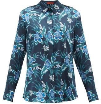 Altuzarra Chika Hibiscus-print Silk-blend Charmeuse Blouse - Womens - Blue Print