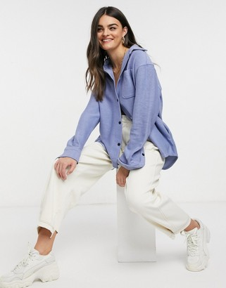 Weekday Betsey organic cotton overshirt in blue