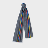 Paul Smith Men's Grey Herringbone Wool Scarf With Central Silk Stripe