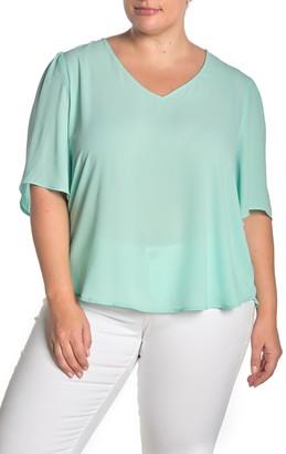 Lush Dolman Sleeve V-Neck Blouse (Plus Size)