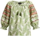 Saloni Polly fern-print cotton top