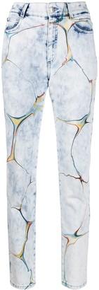 Stella McCartney Marbled-Pattern Straight-Leg Jeans