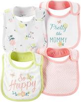 Carter's 4-pk. Pink & Yellow Floral Bibs - Baby Girls newborn-24m