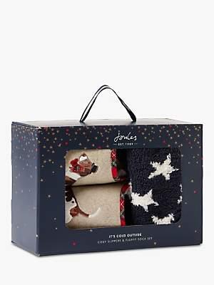Joules Dog Slippers & Cosy Socks Gift Set, Multi