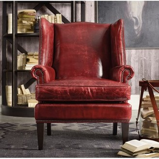 "Hooker Furniture Covington Bogue 31"" W Top Grain Leather Wingback Chair"