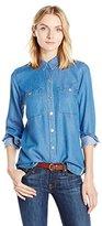 7 For All Mankind Women's 2 Pocket Slim Boyfriend Button Front Shirt