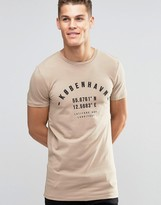 Asos Longline Muscle T-shirt With Kobenhavn Print In Beige