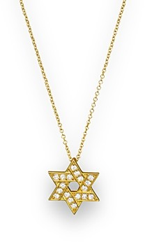 Bloomingdale's Diamond Star of David Pendant Necklace in 14K Yellow Gold, .18 ct. t.w.