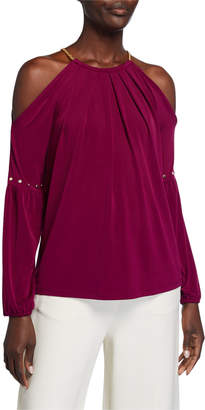 MICHAEL Michael Kors Cold-Sleeve Studded Chain Neck Top