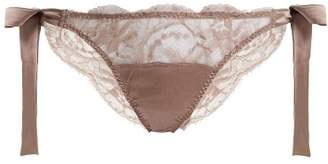 Fleur of England Mink Floral-lace And Satin Tie-side Briefs - Womens - Light Brown