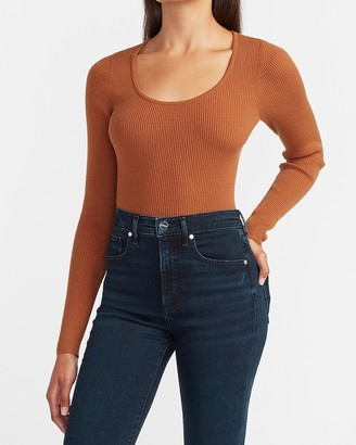 Express Fitted Ribbed Scoop Neck Sweater