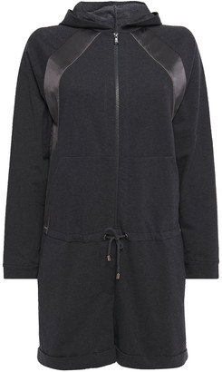 Brunello Cucinelli Silk Satin-trimmed Bead-embellished French Cotton-blend Terry Playsuit