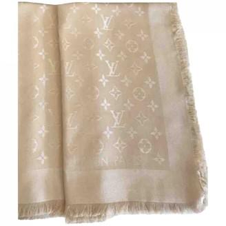 Louis Vuitton ChAle Monogram Gold Wool Scarves