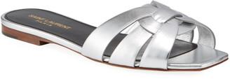 Saint Laurent Nu Pied Metallic Flat Sandals