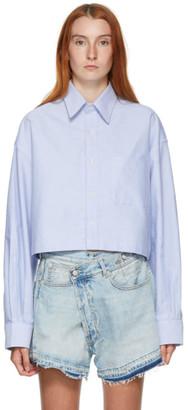 R 13 Blue Oversized Cropped Shirt