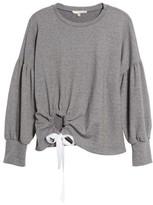 June & Hudson Women's Balloon Sleeve Tie Sweatshirt