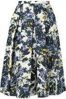 Erdem Ina Pleated Floral-print Cotton-blend Faille Midi Skirt - Petrol