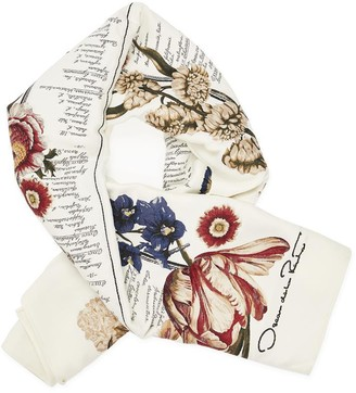 Oscar de la Renta Floral Calligraphy Wool-Blend Scarf