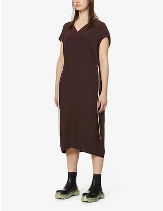 Rick Owens Island drawstring-waist crepe-silk dress