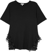 Clu Black Ruffle-trimmed Cotton Blend T-shirt