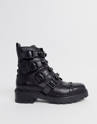 Aldo Tonal Stud Strap Chunky Flat Boot-Black