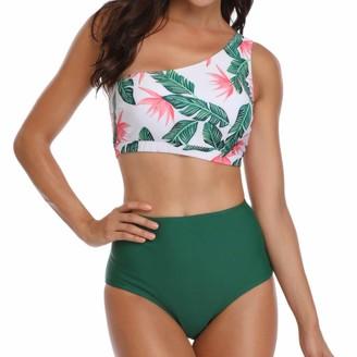 Pochers Sexy Womens Sling Backless Two Piece Flower Print Halter Bikini Single Shoulder Hight Waist Swimsuit Bikini Set Swimwear Beachwear(Green XL)