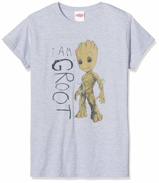 Marvel Women's Guardians of The Galaxy Vol.2 I Am Groot Scribbles-T-Shirt