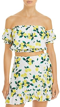 Aqua Swim Lemon Print Crop Top Cover Up - 100% Exclusive