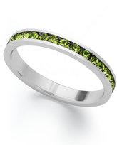 Traditions Sterling Silver Ring, Green Swarovski Crystal Channel Ring