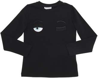 Chiara Ferragni EMBROIDERED EYES L/S COTTON T-SHIRT