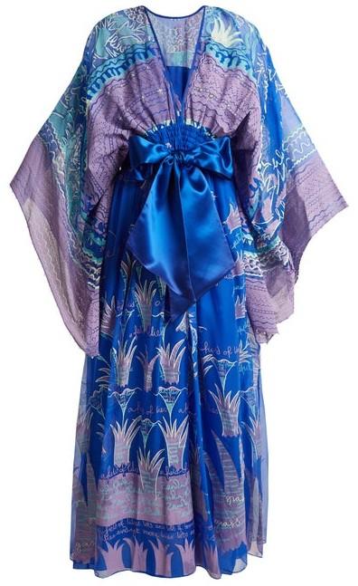 Zandra Rhodes Archive Ii The 1973 Reverse-lilies Gown - Womens - Blue Print