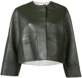 Marni collarless cropped jacket - women - Lamb Skin - 36
