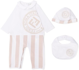Fendi striped FF logo romper, beanie and bib set