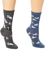 Denim Blue & Gray Cats Two-Pair Socks Set