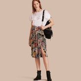 Burberry Gathered Floral Print Silk Skirt