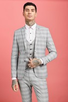 boohoo Mens Grey Prince of Wales Check Skinny Fit Suit Jacket, Grey
