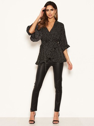AX Paris Spotty Frill Wrap Top - Black