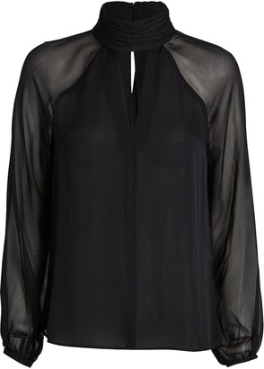 Intermix Milly High Neck Silk Blouse