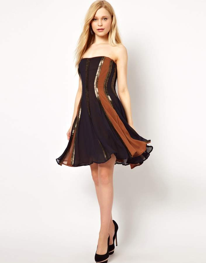 French Connection Arrow Beading Strapless Dress