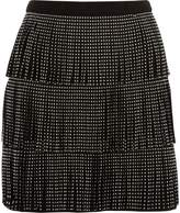 River Island Womens Black studded fringe faux suede mini skirt