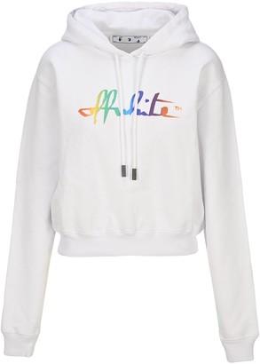 Off-White Rainbow Script Logo Cropped Hoodie