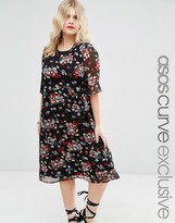 Asos Midi Tea Dress in Dark Floral with Flutter Sleeve