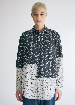 Engineered Garments Women's Spread Collar Shirt in Black/White Floral Jacquard, Size 2XS