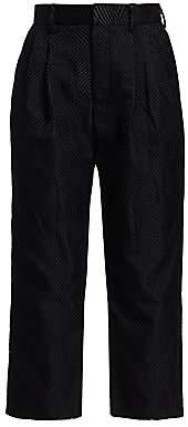 Noir Kei Ninomiya Women's Front Pleat Cropped Jacquard Trousers