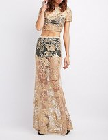 Charlotte Russe Embroidered Mesh Maxi Skirt