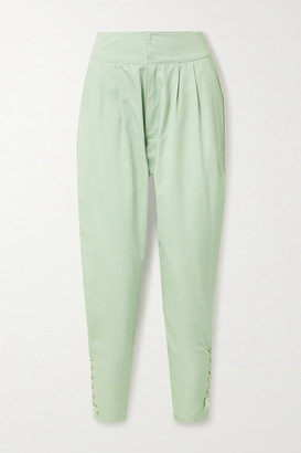 PARADISED Arielle Lace-up Cotton-twill Tapered Pants - Mint