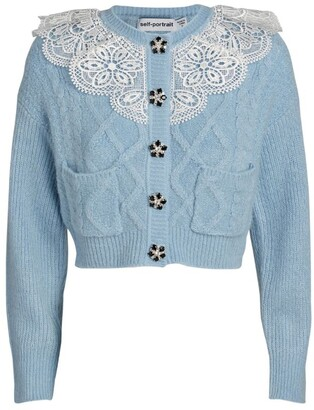 Self-Portrait Lace-Embroidered Cardigan